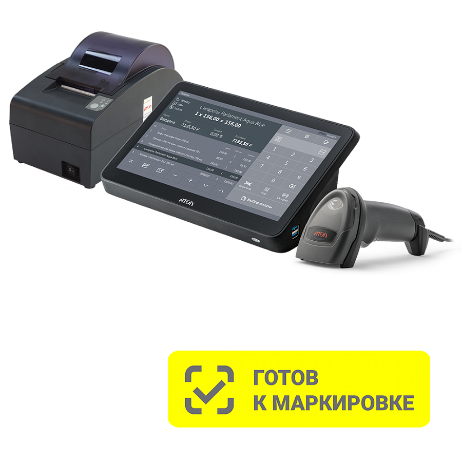 "POS-система АТОЛ Mark Optima [АТОЛ 50Ф без ФН, POS-терминал 11.6"", Windows 10 IoT, Frontol 6, сканер 2D SB2108 Plus]"